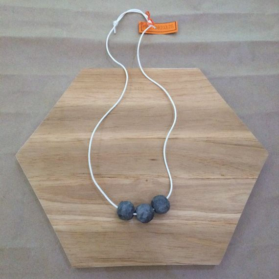 Handmade Polymer Clay   3 Bead Geo Necklace by MadMarigolds