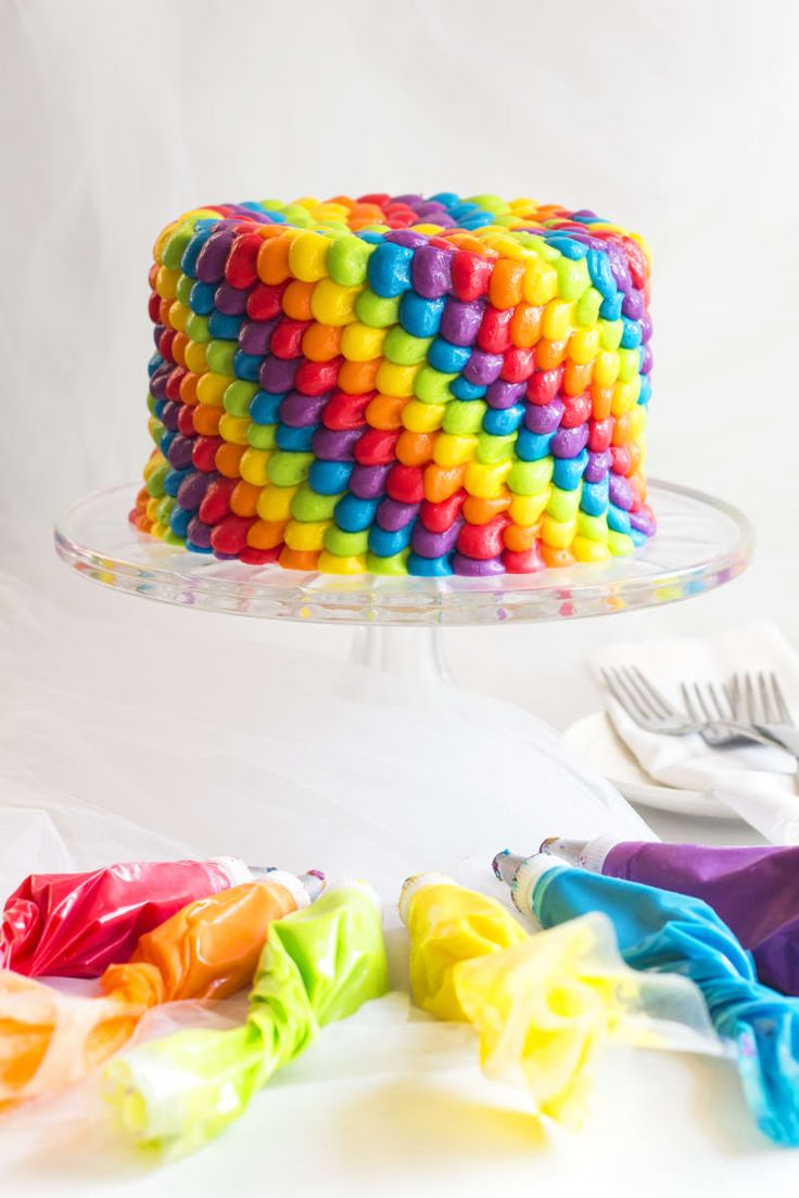 Rainbow Birthday Cake  |  A video tutorial shows you how to make this colorful cake!