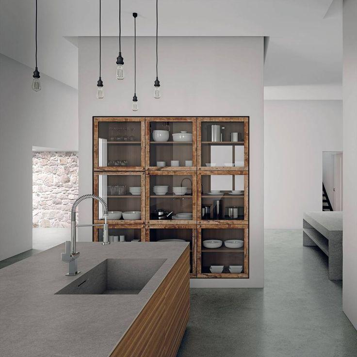 Flush built in display cabinet in modern kitchen
