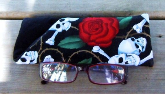 Skulls and Roses Eyeglass Case by DeloresCreations on Etsy, $8.00