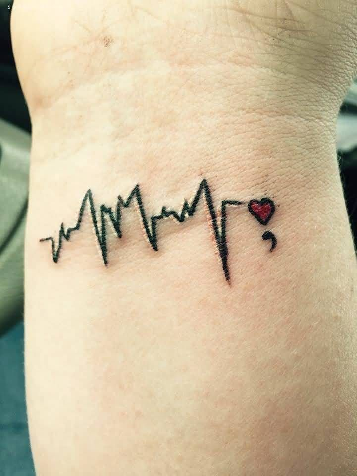Heartbeat And Semicolon Tattoo On Wrist I love the red heart❤️