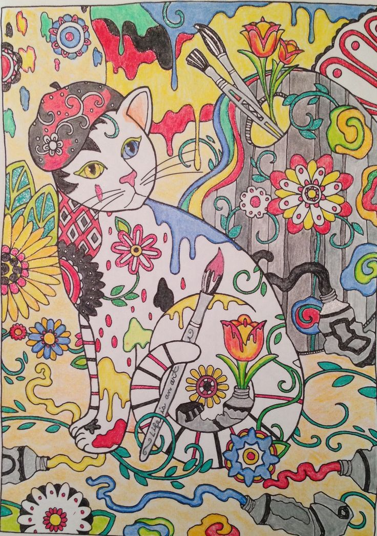 Painterly Primary Cat Creative Havens Cats Coloring Book Colored By Kate McAlister