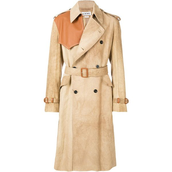 Loewe St Journal trench coat ($4,150) ❤ liked on Polyvore featuring men's fashion, men's clothing, men's outerwear, men's coats, mens trench coat, mens double breasted coat, mens fur collar coat and mens double breasted trench coat