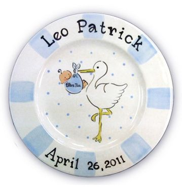 Painted Zebra - Birth Plate for Boy