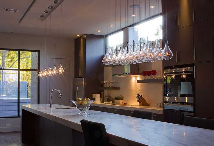 Incredible Light Fixtures with teardrop glass mini pendant lights and marble kitchen