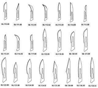 Bisturí con hoja desechable: tiene un mango numerado según su tamaño del nro. 3 al 9, siendo los más usados el nro. 3 y 4. Las hojas están numeradas del 10 al 24. Para el mango nº 3 se utilizan hojas del 13 a 18. Para el nº 4 del 22 en adelante.  Consideraciones: La hoja se fija al mango resbalando la hendidura dentro de las muescas del mango. Los mangos difieren en cuanto a longitud y ancho.