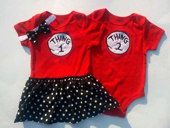 Boy Girl Twin Outfits Thing 1 Thing 2 Onesie w/Skirt & Headband on Etsy, $40.00