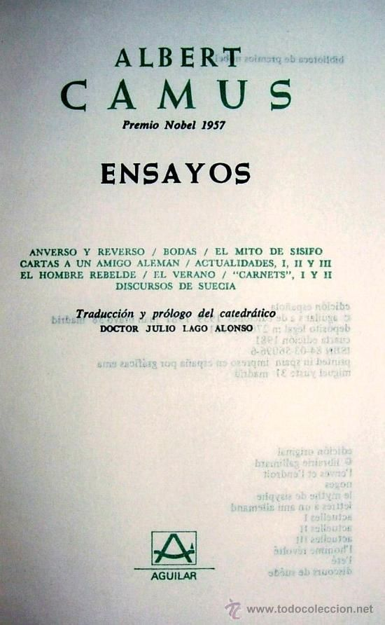 ENSAYOS Albert Camus Editorial: Aguilar, Madrid, 1981
