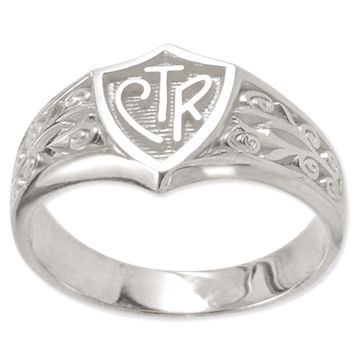 Legacy Plain CTR Ring. Sterling silver. Beautifully detailed flourish design surrounding the classic CTR shield. Only $44.99