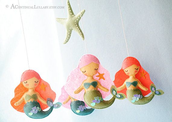 Mermaid Nursery Decor: Beautiful Handmade Mermaid Baby Nursery Crib Mobile