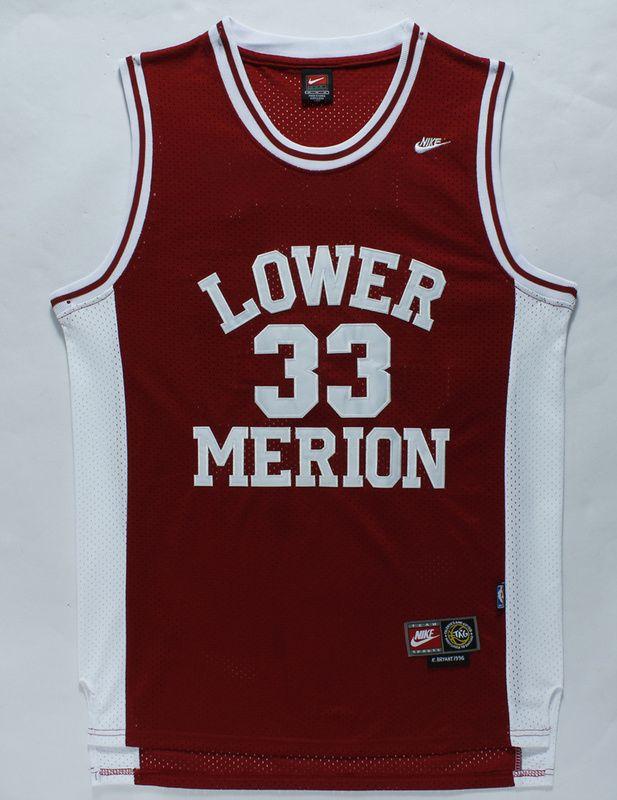 369bac957ac ... The Los Angeles Lakers 33 Kobe Bryant Red Lower Merion High School NBA  Jerseys Man 24 ...