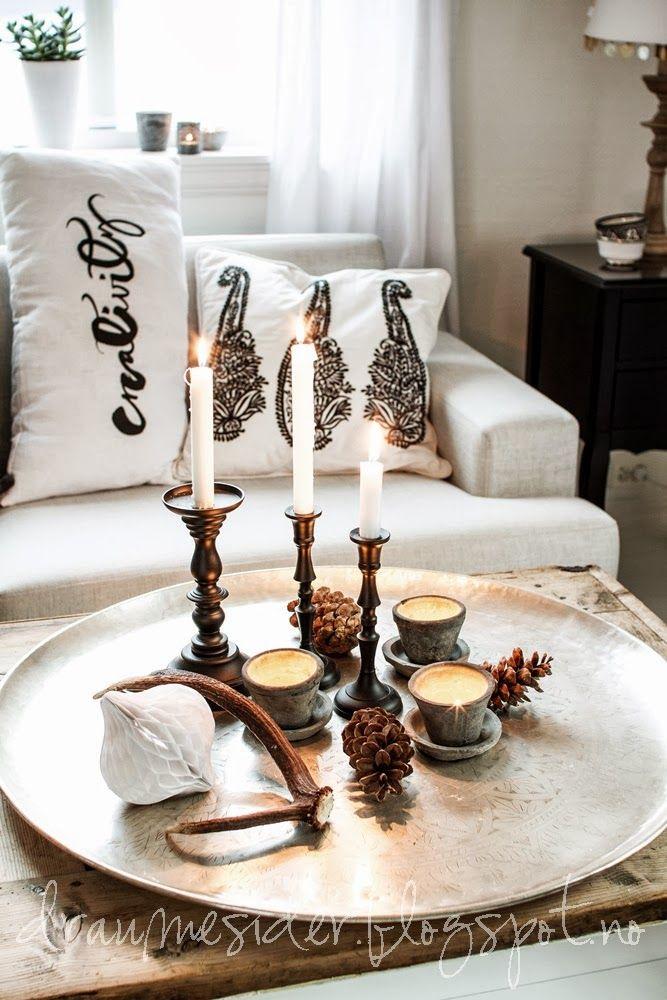 candlelit coffee table arrangement