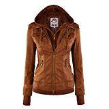 LL WJC664 Womens Faux Leather Jacket with Hoodie XL CAMEL