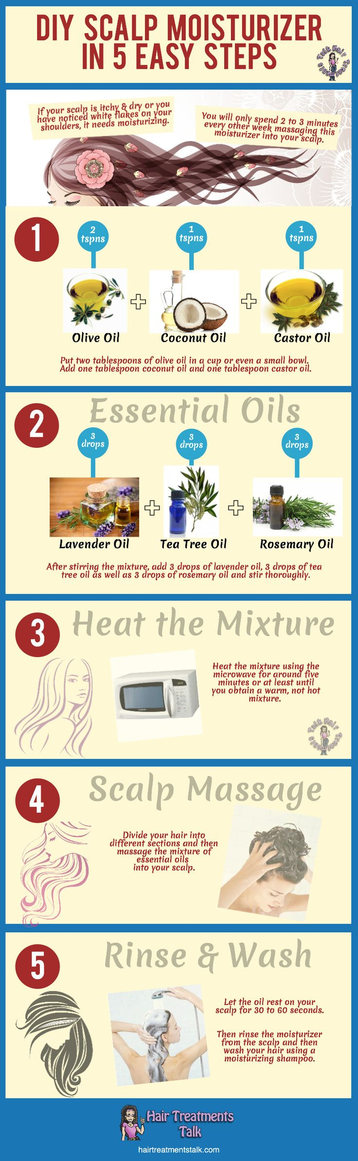 DIY: Easy Homemade Scalp Moisturizer in 5 Easy Steps #hair #hairtreatments #haircare Infographic from hairtreatmentstalk.com @Hair Treatments Talk