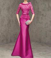 2016 Nova Cetim e Renda Sereia Mãe do Vestido Da Noiva Vestidos Madre De La Novia Sexy Rosa Vermelha O Pescoço Madrinha vestidos