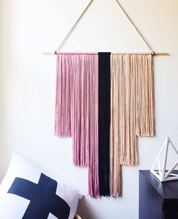 Pink And Black Yarn Wall Hanging Art Deco Banner Fiber Art