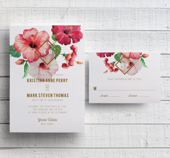 Beautiful Hibiscus Adorn This Wedding Invitation That Is Perfect For A Hawaii  Wedding Or Other Tropical