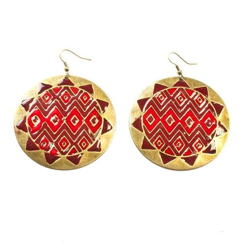 Vörös-arany napkorong fülbevaló I FEMINASHOP