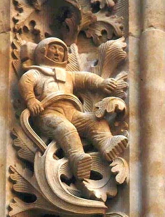 The 16thC Cathedral of Salamanca, Spain restoration in 1992 integrated modern and contemporary motifs, including a carved figure of an astronaut. The use of this motif was in the tradition of cathedral builders and restorers including contemporary motifs among older ones as a way of signing their works. The person responsible for the restoration, Jeronimo Garcia, chose an astronaut as a symbol of the 20thC.
