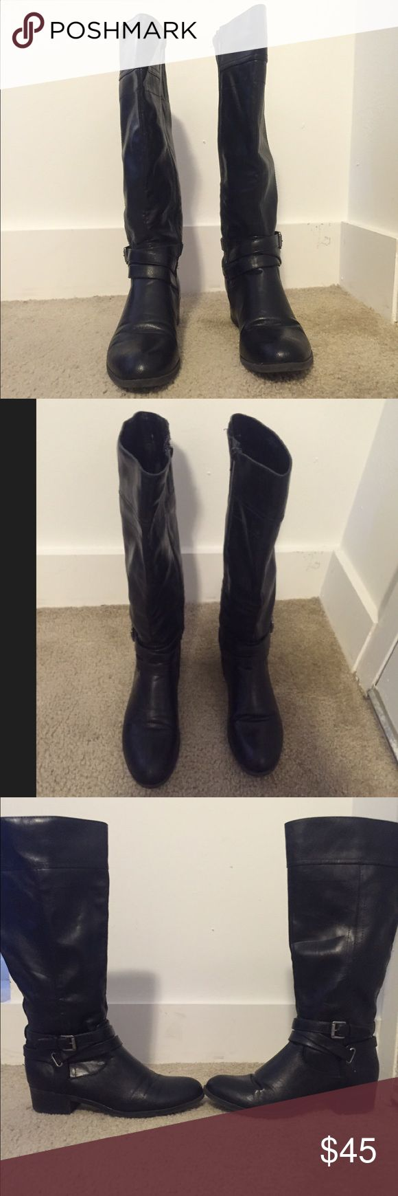 Black side zip boots Like new black boots with a side zipper. Perfect for fall and winter! They have some elastic stretch to them at the top of the boot which gives you more room if needed. Shoes