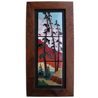 Framed clay tile triptych by Brian McArthur and Dawn Detarando of Voyager Art & Tile (Red Deer, AB). Members of the Alberta Craft Council.