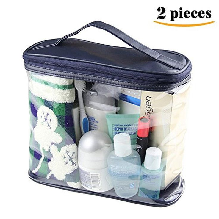 LOUISE MAELYS Clear Cosmetic Bag with Top Handle Travel Toiletry Case Train Bags - Brought to you by Avarsha.com
