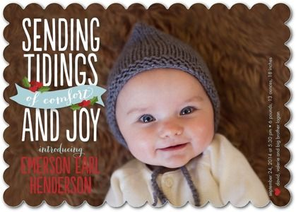 Fresh Tidings - Winter Boy Birth Announcements - Magnolia Press - Peppermint - Blue : Front