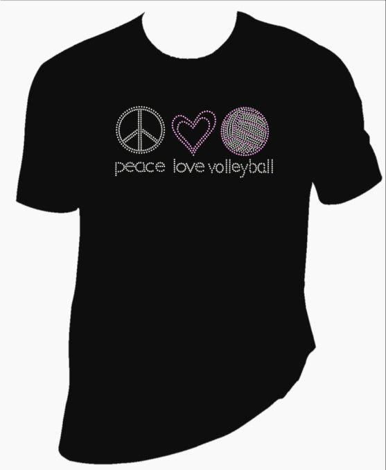 Peace Love Volleyball Rhinestone Shirt by BlingSt on Etsy, $25.00