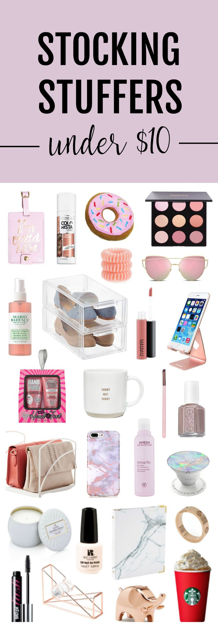 I want everything! | Fashion and beauty Mash Elle shares stocking stuffer gift ideas under $10. For those on a budget, these affordable, unique, trendy, fun gift ideas are perfect for the women in your life including: your mom, sister, neighbor, best friend, cousin, coworker, boss and so many more! #affordablegifts #giftsunder10 #giftsforher #stockingstuffers #christmasgifts #giftguide