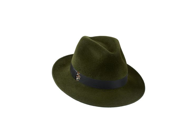 The Amber Trilby Collection | Green | Leather & Pheasant Feather Band www.penmayne.com #trilby #hats #accessories