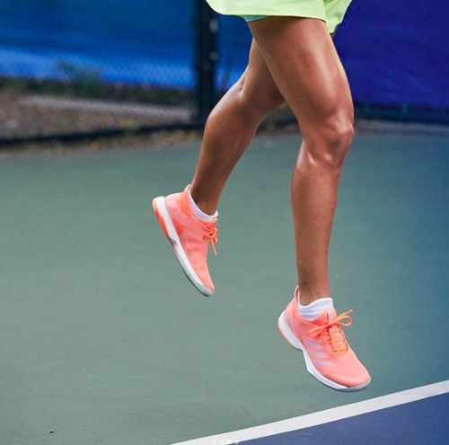 Angelique Kerber's #Adidas Ubersonic 3 shoes in chalk coral for Australian Open 2018