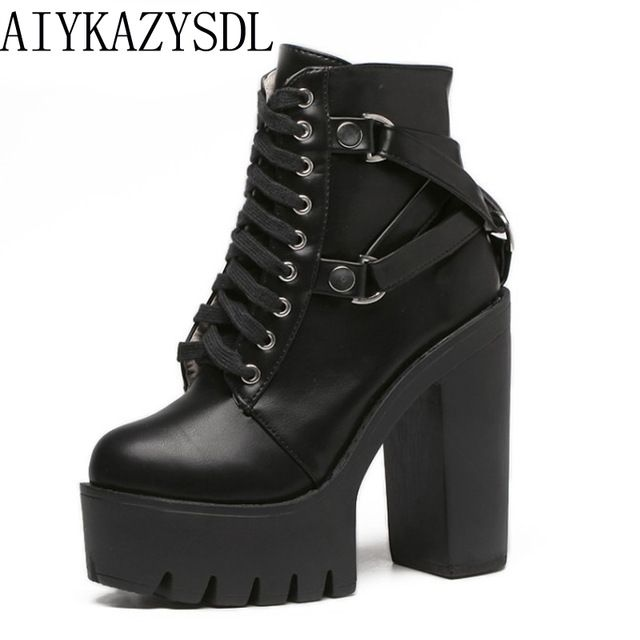 Top Offers $28.07, Buy AIYKAZYSDL Gothic Cross Strap Ankle Boots Women Faux Leather Platform Block Chunky Thick Ultra High Heel Gladiator Shoes Bootie