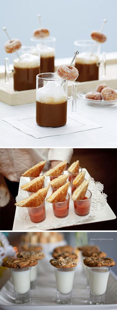 Late night wedding food -- coffee and donuts, grilled cheese and tomato soup, and milk and cookies.  Easy way to add some Americana to the wedding.