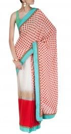 White, blue, red and golden #sabyasachi #saree