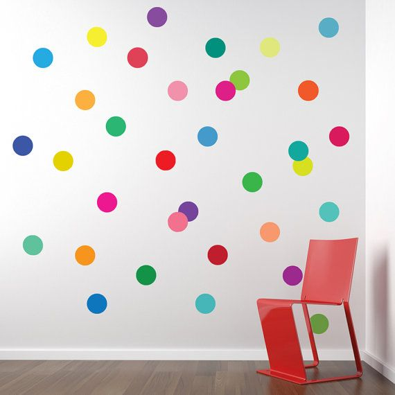 36 Confetti Rainbow of Colors Polka Dot Wall Decals, Removable and Reusable on Etsy, $36.00