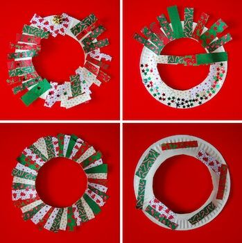 Wreaths from cut paper plates and strips of gift wrapping.