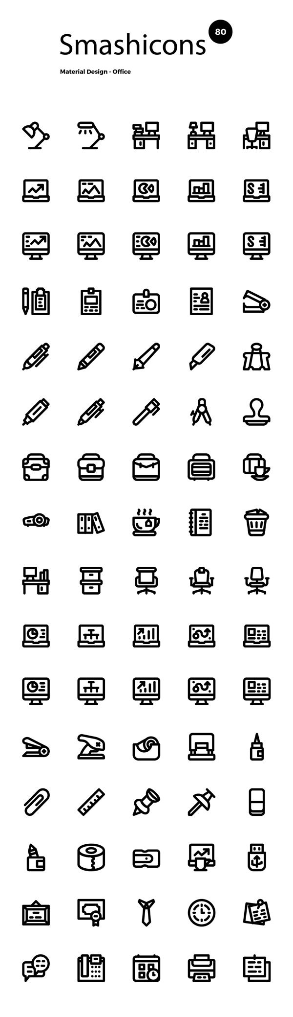 Today we have for you another great set of 80 free office icons in a simple outline style that would make a nice...