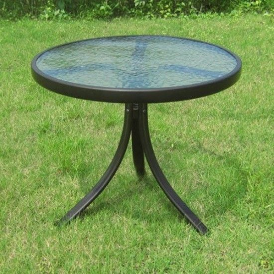 """Round Outdoor Side Table Glass Top 20""""W x 17.5""""H Ideal For Patios Decks Backyard #Mainstays"""