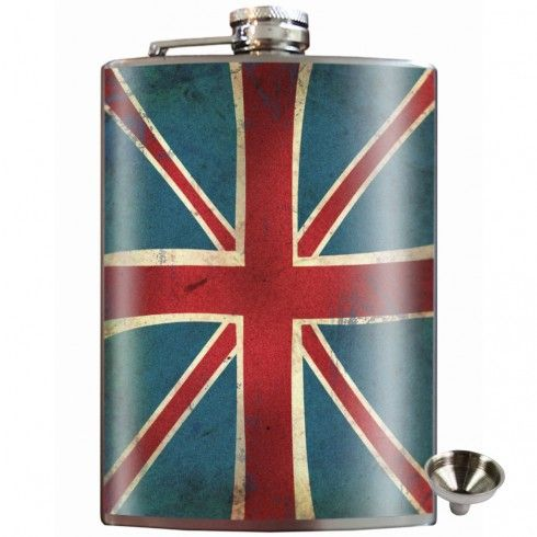 Union Jack Stainless Steel Hip Flask $35