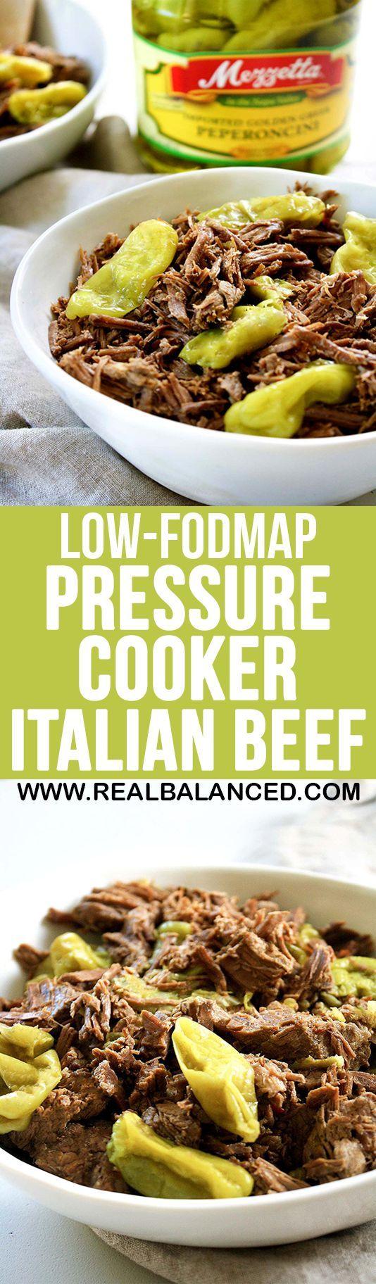 #sponsored Low-FODMAP Pressure Cooker Italian Beef: low-FODMAP, low-carb, keto, gluten-free, grain-free, dairy-free, & sugar-free!