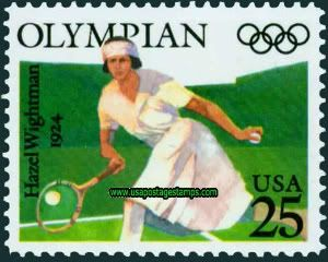 Cal's Hazel Hotchkiss Wightman was the first tennis player ever honored on a U.S. postage stamp. Description from californiagoldenblogs.com. I searched for this on bing.com/images