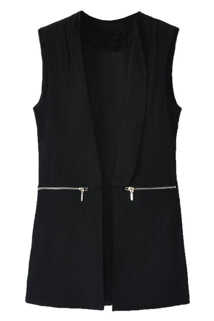 ROMWE   Buttonless Zippered Sheer Black Vest, The Latest Street Fashion
