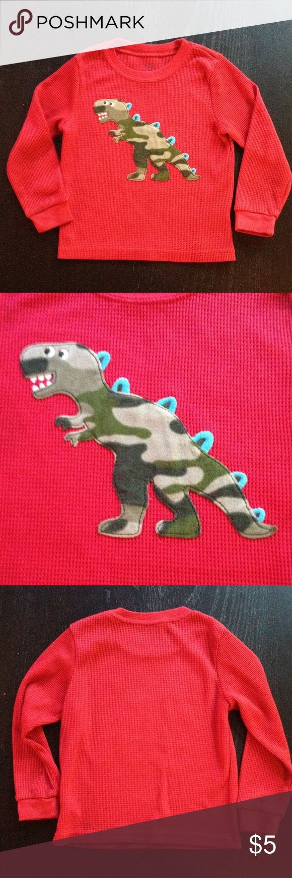 Carter's long sleeve thermo Dino shirt Carter's long sleeve thermo shirt with Dino.  100% polyester. Carter's Shirts & Tops Tees - Long Sleeve