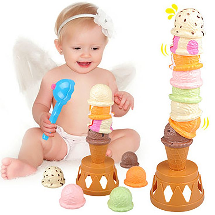""""""" Ice Cream Tower"""" Board Game  Children Educational Toy Stacked Toy Baby Puzzle Board Game Environmental Protection ABS Plastic"""