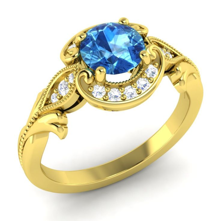 Certified AAA Blue Topaz & SI Diamond Halo Engagement Ring For Women Jewelry