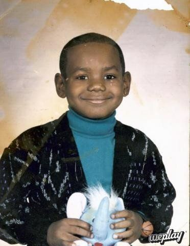 A young LeBron James. Every time I see this pic I think of the pink elephant at the end of Bad Santa.