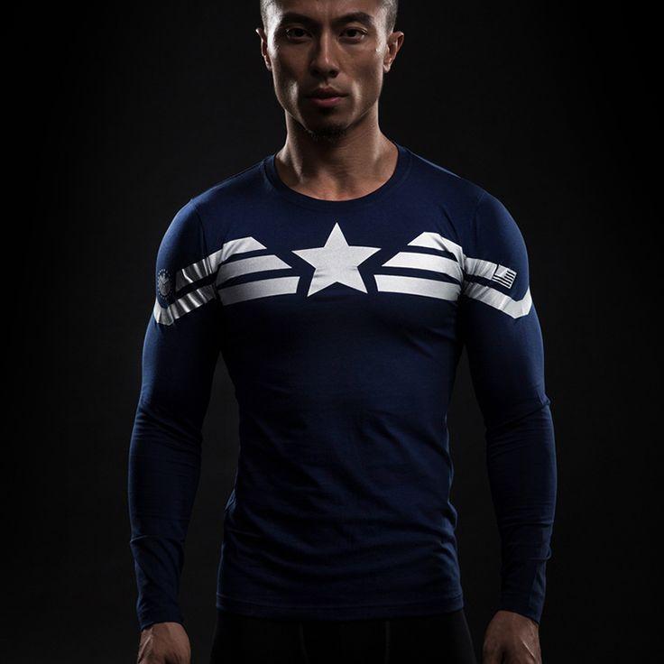 Captain America Star Compression Longlseeve //Price: $25.00 & FREE Shipping //     #superheroez #superheroes #marvel #dccomics