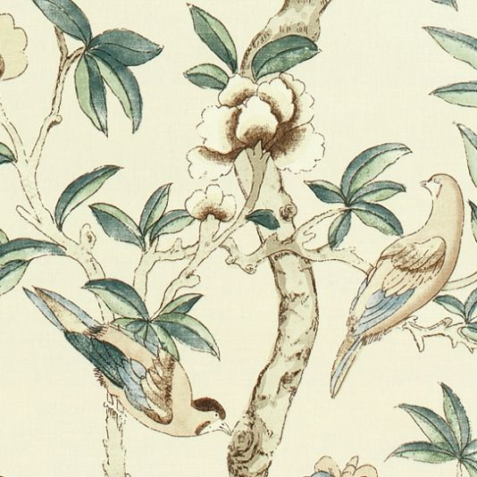 Giselle Upholstery Fabric This beautiful printed fabric features a variety of tropical birds and butterflies amongst floral branches, shown in shades of green and beige on a cream ground.