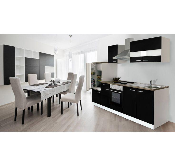 Respekta Küchenzeile KB270WS 270 cm Schwarz-Weiß - küche 270 cm