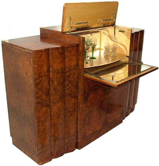 Art Deco Epstein Sideboard | a fantastic original by H&L Epstein. Superb 1930's Art Deco burl walnut . The sideboard has a drop down cocktail area to the top centre - very glamourous.